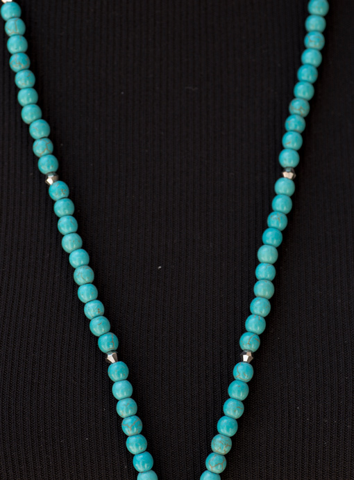 Turquoise Bead Necklace With Rust Marbleized Stone