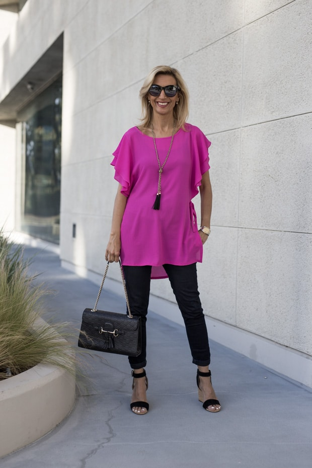 Proportion Play With Our Fuchsia Top And Black Eyelet Jacket