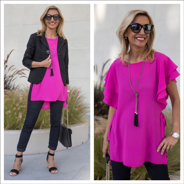womens fushia top with black cotton cropped eyelet jacket