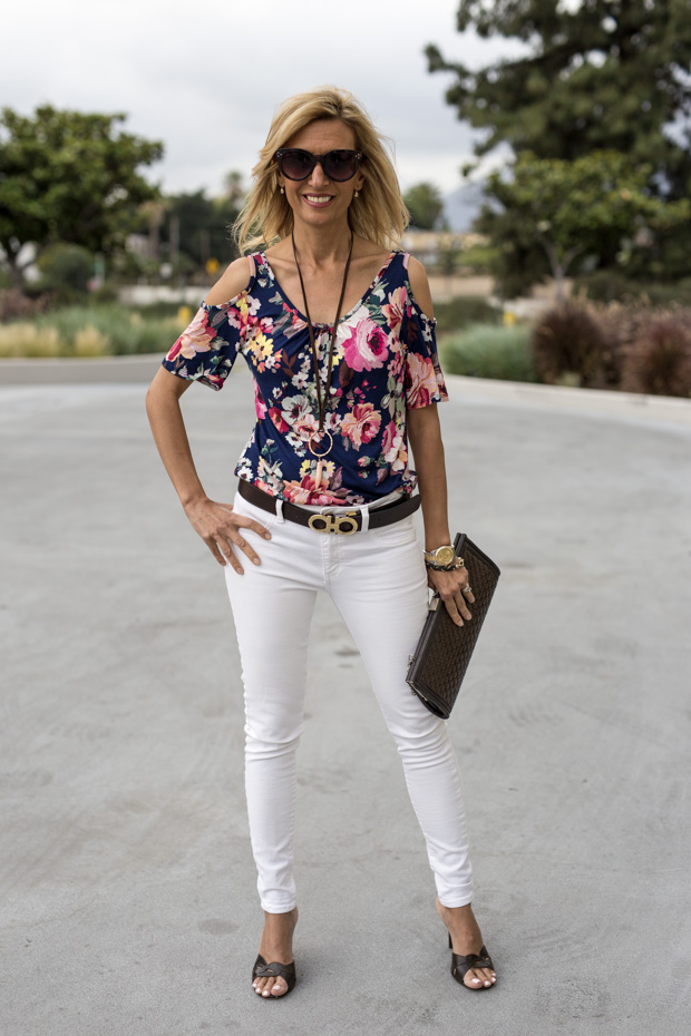 white eyelet cotton jacket with floral cold shoulder top