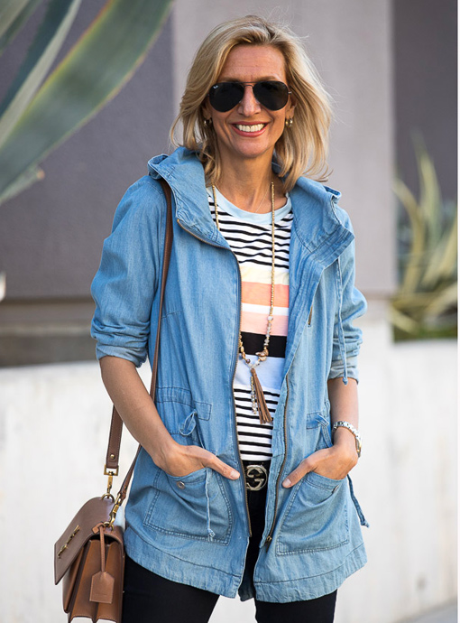 hooded blue denim cargo jacket for women