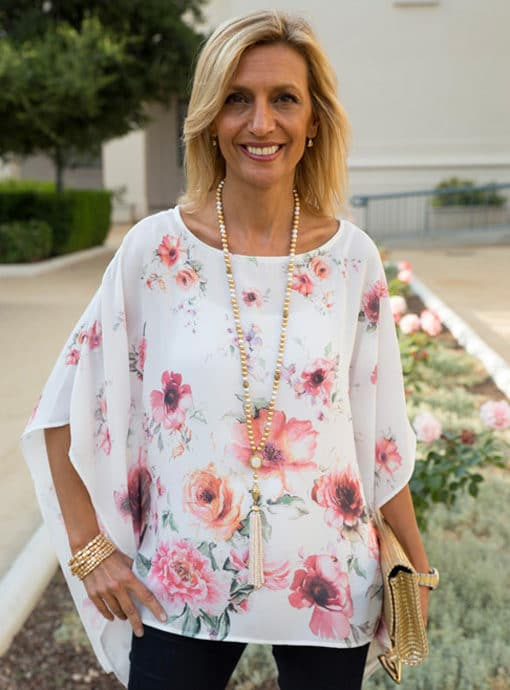 floral poncho blouse for women