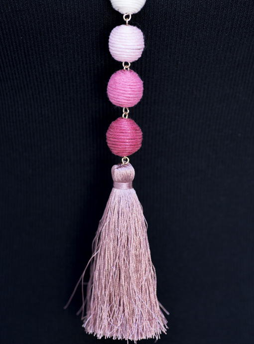 Pink Thread Ball Necklace