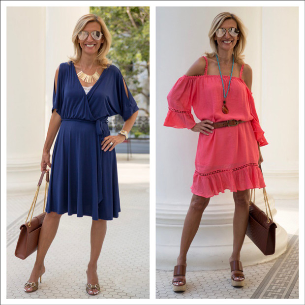 coral ruffle dress and blue jersey wrap dress