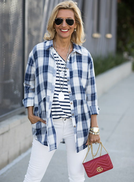 Navy Plaid Shirt Jacket With Pockets