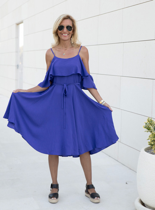 blue violet cold shoulder summer dress