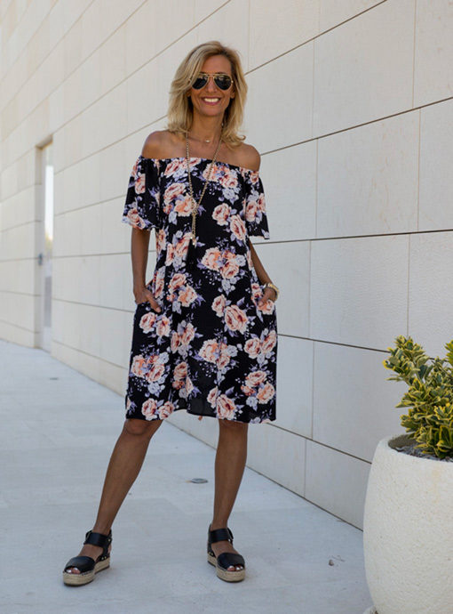 floral off the shoulder summer dress