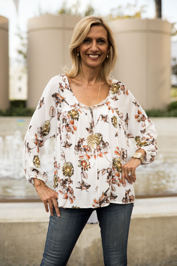 Ivory Print blouse with tie front