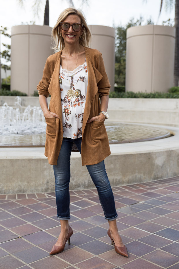 Autumn Maple Color Ultra Suede Jacket with Ivory print top