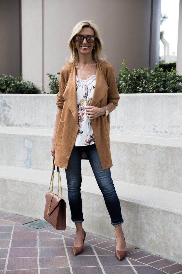 Autumn Maple Color Ultra Suede Jacket styled with ivory blouse