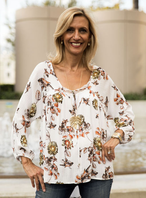 Ivory Floral Print Blouse With Gold Lurex Stripes