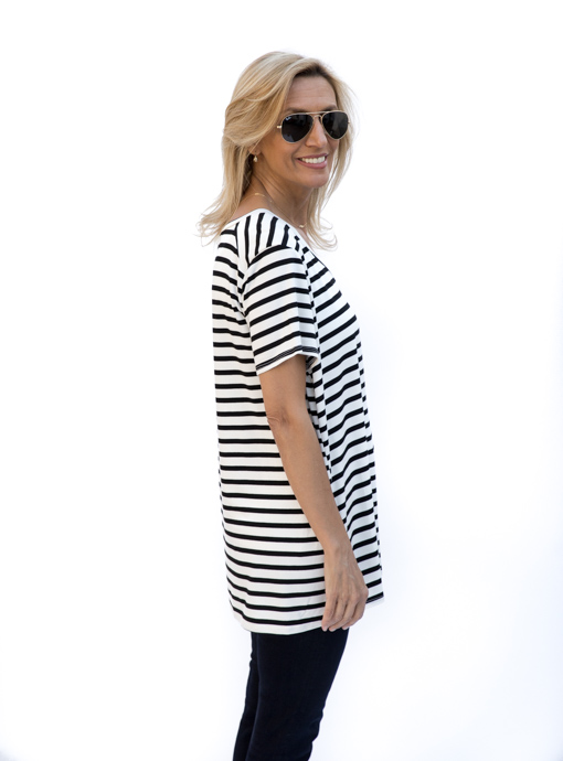 Womens Black And Ivory Stripe V Neck T Shirt