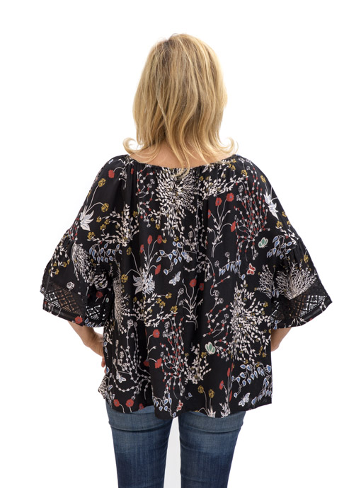 back black print blouse with ruffle sleeves and lace trim