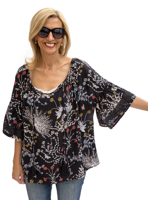 black print blouse with and lace trim