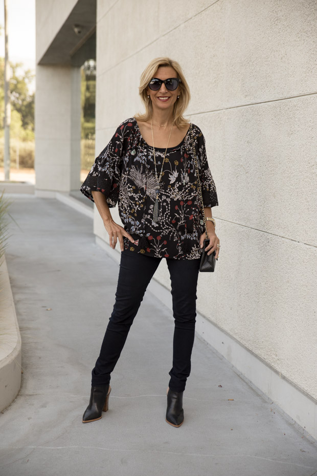 black floral print top with lace trim