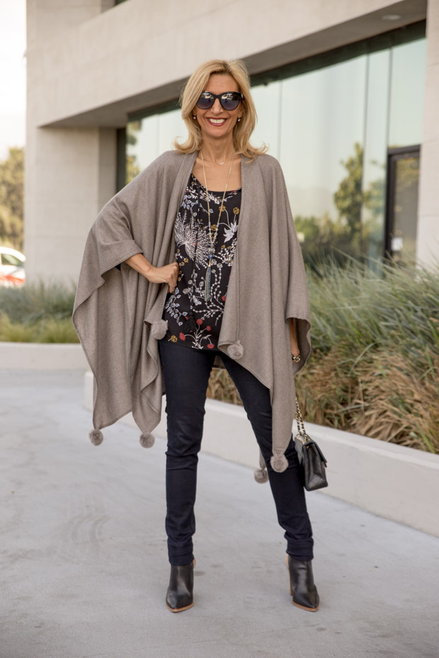 womens stone colored poncho