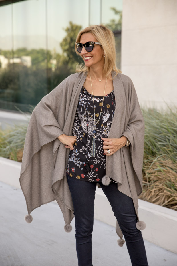 womens stone colored poncho front view