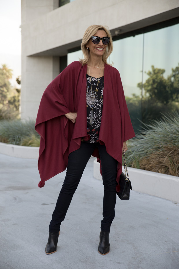womens burgandy color poncho