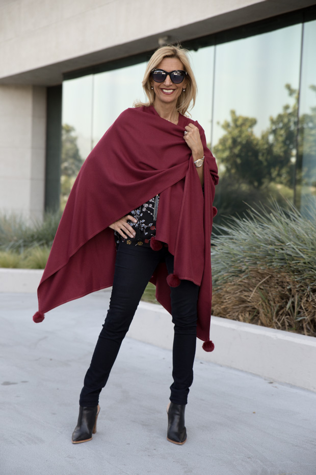 womens burgandy color poncho wrap