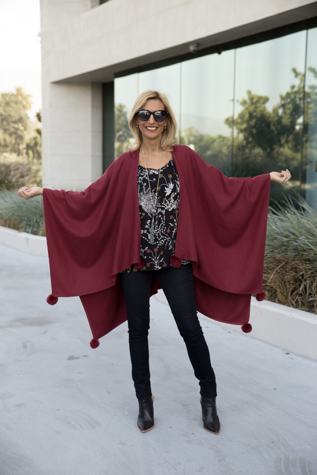 womens burgandy color poncho open