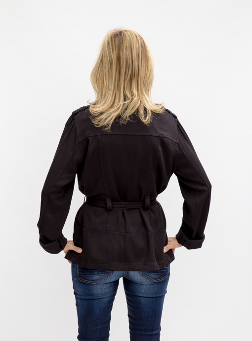 Black Rayon Moto Jacket With Belt