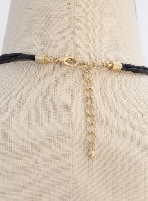 Black String Necklace With Gold Pendant And Black Fringe