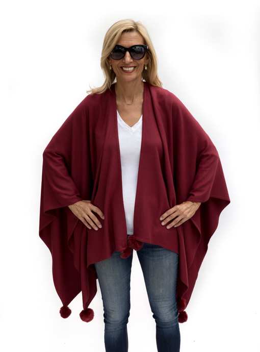 Womens Burgandy Poncho front