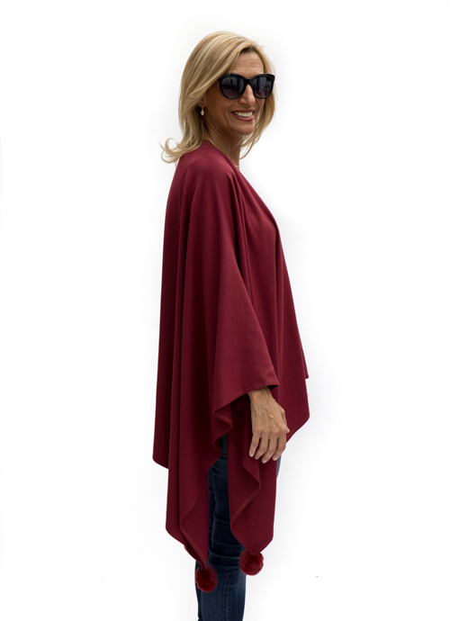 Womens Burgandy Poncho side