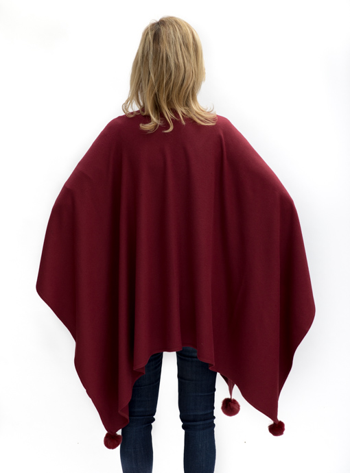 Womens Burgandy Poncho back