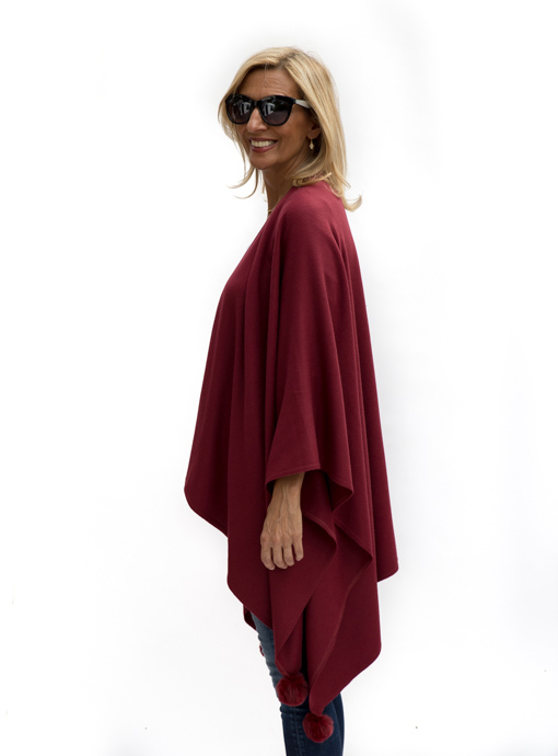 Womens Burgandy Poncho left