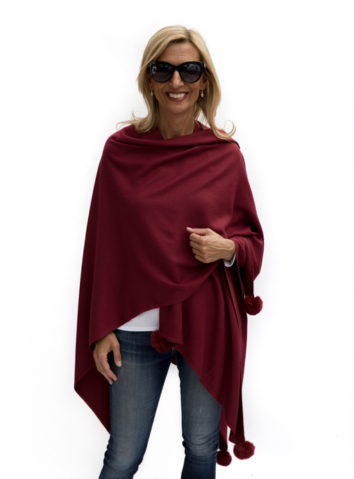 Womens Burgandy Poncho wrapped