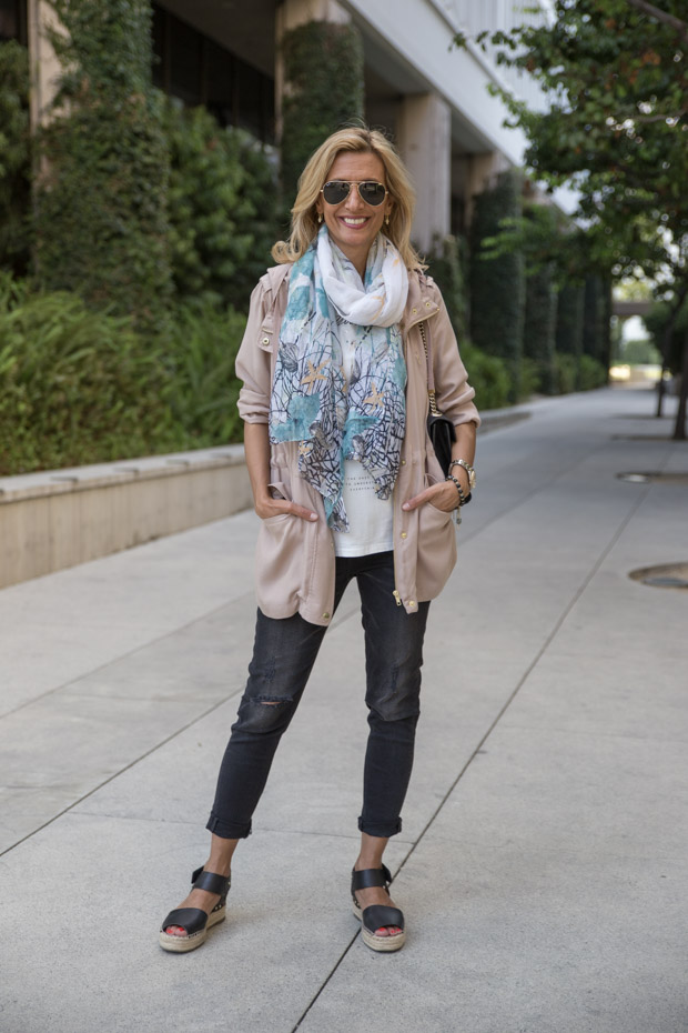 casual look with tan cargo jacket