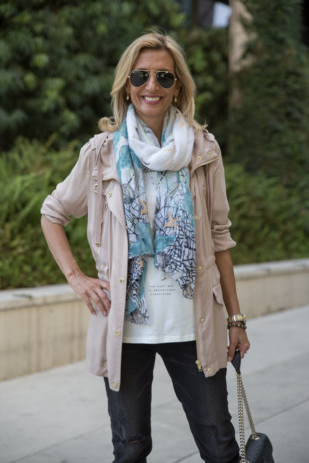 casual look with tan cargo jacket and scarf