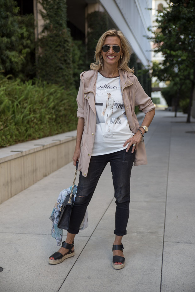 casual look with tan cargo jacket grifflin t shirt