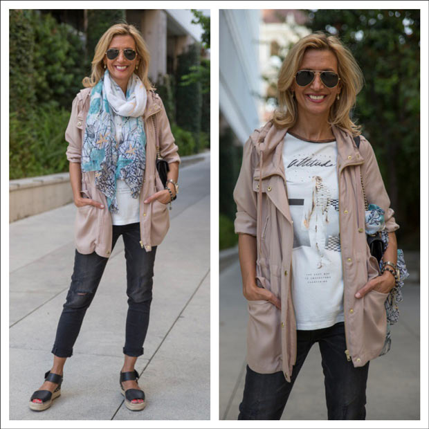 long taupe cargo trench with T shirt and scarf