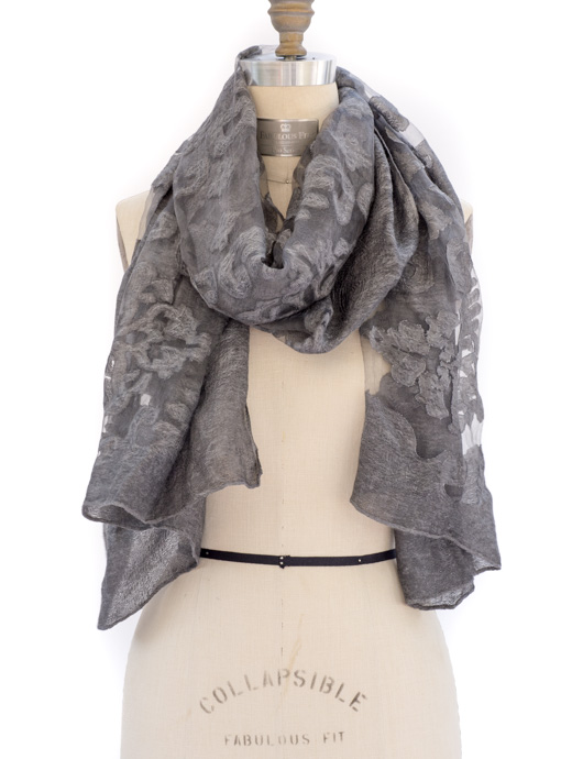 Charcoal Jacquard Burn Out Scarf Shawl