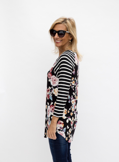 Floral stripe long sleeve T shirt