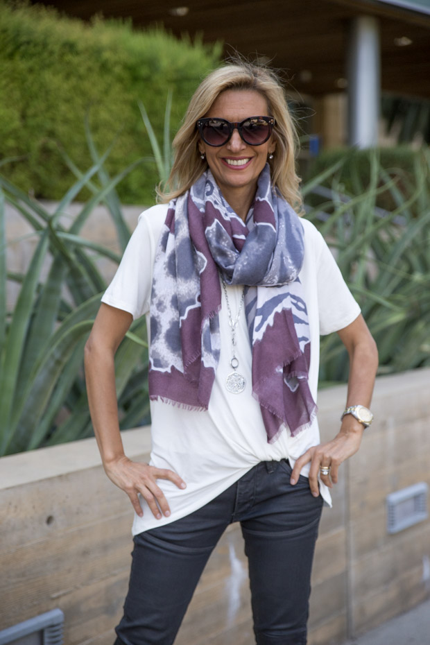 Ivory tie front blouse with scarf