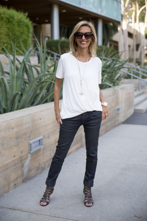 ivory tie front blouse