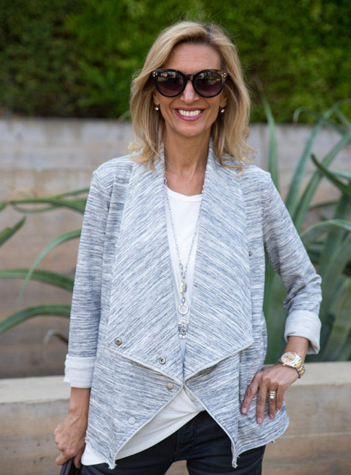 Heather Gray Knit Cascading collar jacket