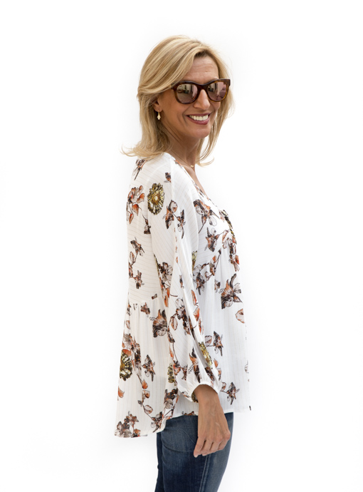Tie front Floral Print Ivory Blouse