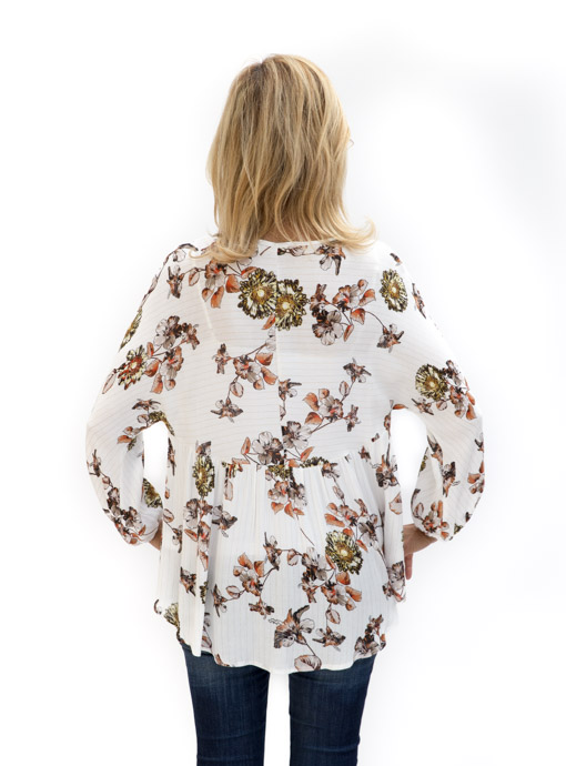 womens Floral Print Ivory Blouse