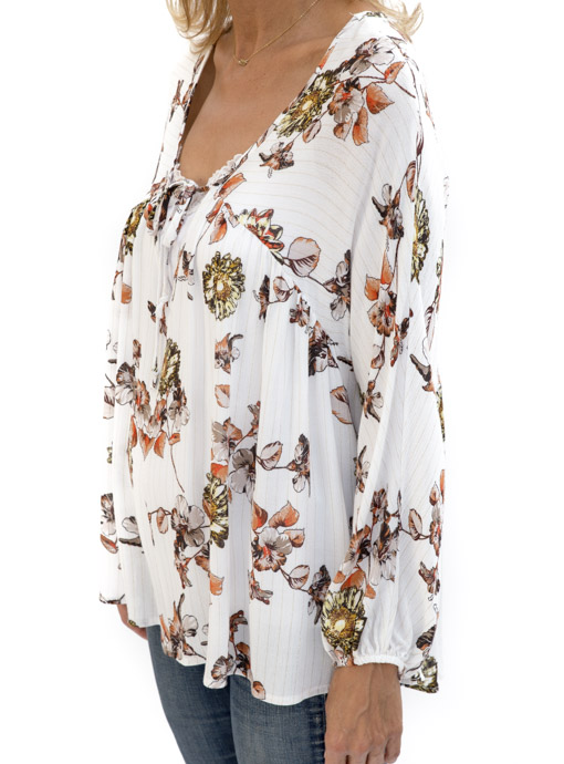 Floral Print Ivory Blouse tie front