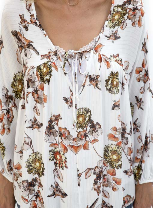 Floral Print Ivory Blouse lurex stripes