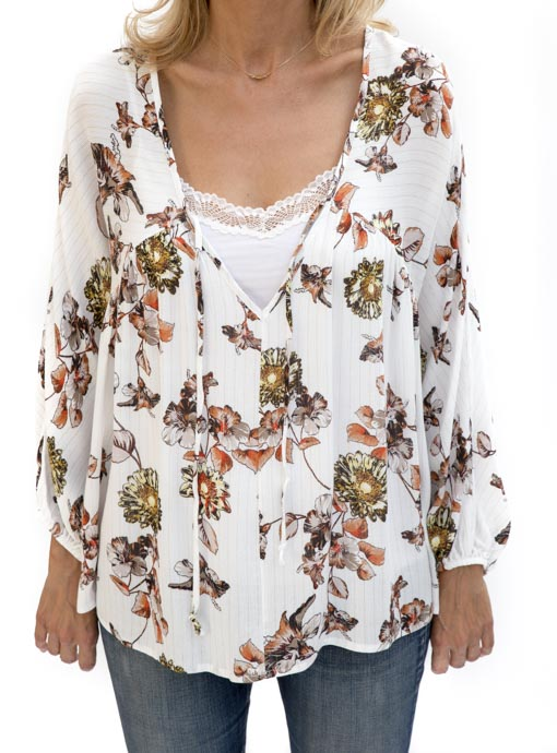 Floral Print Ivory Blouses