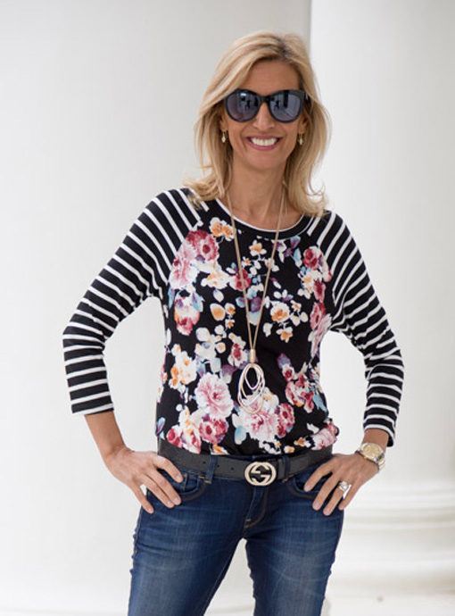 burgandy floral stripped sleeve t shirt