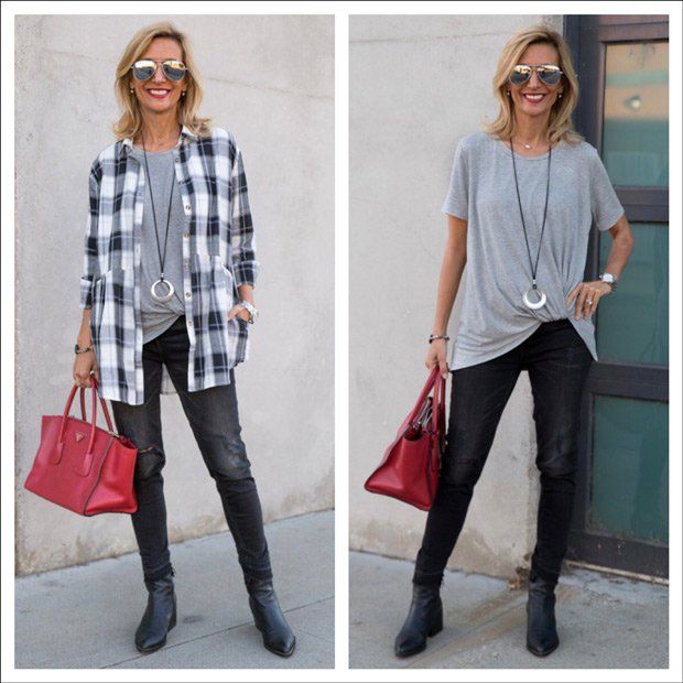 Black Plaid Shirt jacket and Heather Gray twist front blouse styled for fall 2017
