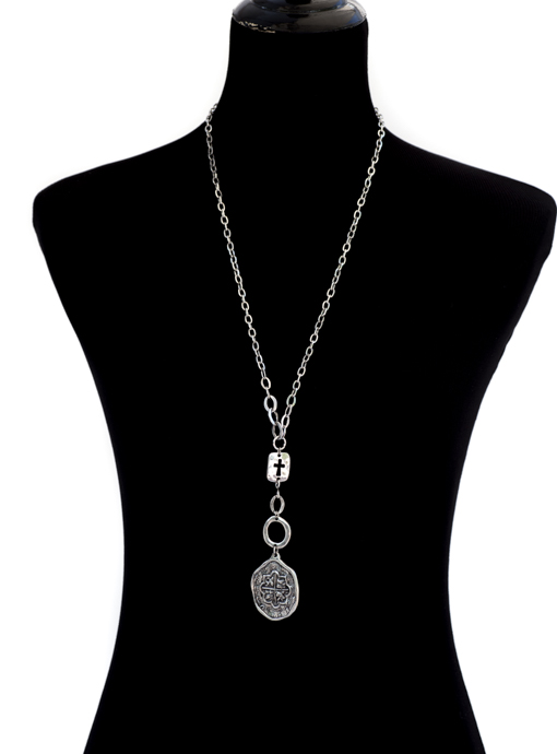 Silver Cross And Coin Necklace
