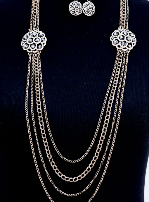 Vintage Inspired Chain Necklace With two Rhinestone Pendants And Earrings