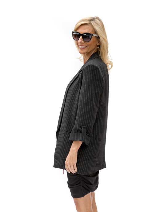 Black Pinstripe Long Boyfriend Blazer